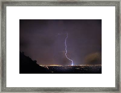 Framed Print featuring the photograph It's A Hit Transformer Lightning Strike by James BO Insogna