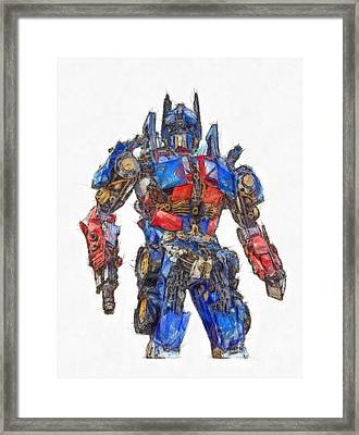 Transformers Optimus Prime Or Orion Pax Colored Pencil Framed Print by Edward Fielding