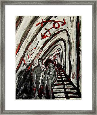 Transgender Entity Nude In Modern Hallway With Arches And Gender Symbols Of Trans Changes Struggle Framed Print