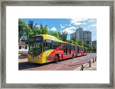 Transmilenio Bus In Bogota Framed Print by Jess Kraft