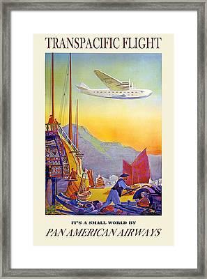 Transpacific Flight -  Pan American Airways - Vintage Advertising Poster Framed Print