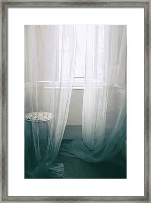 Transparent White Curtains Framed Print