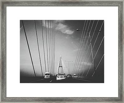 Transportation On Suspension Bridge Framed Print by Sirikorn Techatraibhop