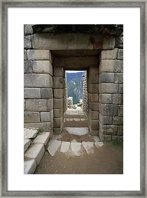 Framed Print featuring the photograph Trapezoidal Door, Machu Picchu, Peru by Aidan Moran