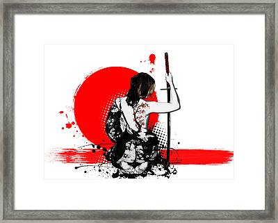 Trash Polka - Female Samurai Framed Print by Nicklas Gustafsson