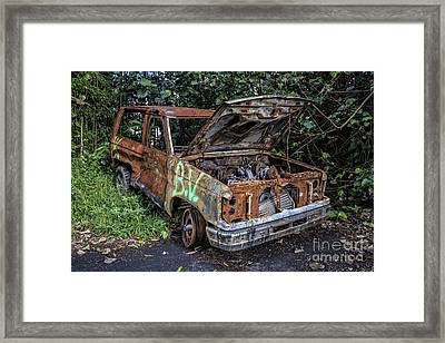 Trashed Car Maui Hawaii Framed Print