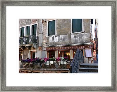 Trattoria Dona Onesta In Venice, Italy Framed Print