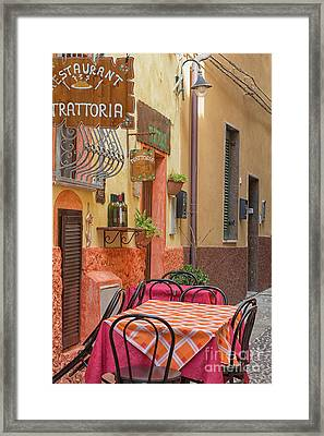 Trattoria With Outside Tables Framed Print