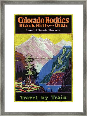 Travel By Train To Colorado Rockies - Vintage Poster Folded Framed Print