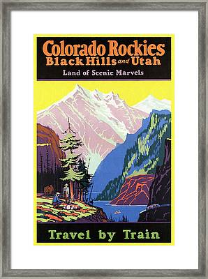 Travel By Train To Colorado Rockies - Vintage Poster Restored Framed Print