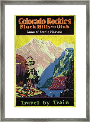 Travel By Train To Colorado Rockies - Vintage Poster Vintagelized Framed Print