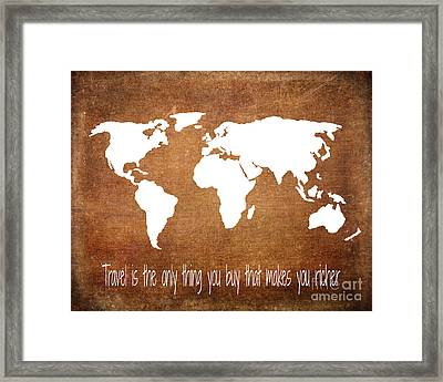 Travel World Map Framed Print by Jennifer Mecca