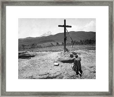 Traveler At A Shrine Framed Print by Underwood Archives