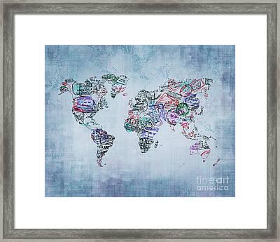 Traveler World Map Blue 8x10 Framed Print