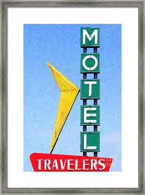 Travelers Motel Tulsa Oklahoma Framed Print by Wingsdomain Art and Photography