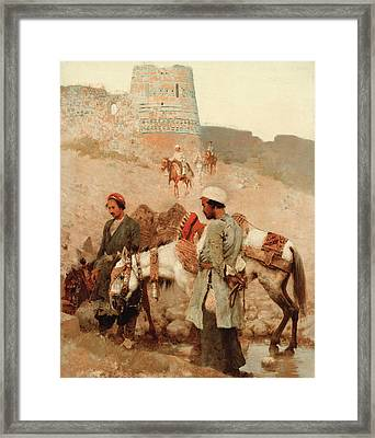 Traveling In Persia Framed Print by Edwin Lord Weeks