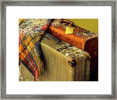 Traveling Vintage Bags Blanket And Snow Framed Print by Julie Palencia