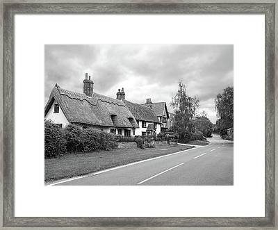 Travellers Delight - English Country Road Black And White Framed Print by Gill Billington