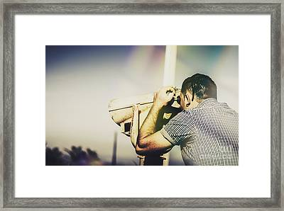 Travelling Man Looking Through Binoculars Framed Print