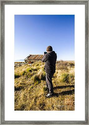 Travelling Man Taking Smartphone Photograph Framed Print by Jorgo Photography - Wall Art Gallery