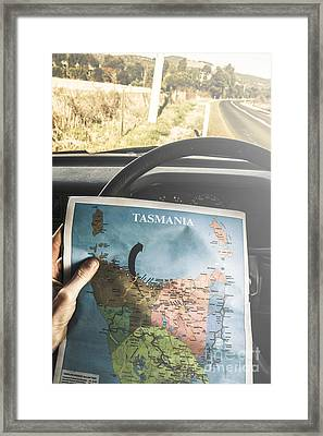 Travelling Tourist With Map Of Tasmania Framed Print by Jorgo Photography - Wall Art Gallery