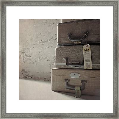 Framed Print featuring the photograph Travels With A Typewriter by Sally Banfill