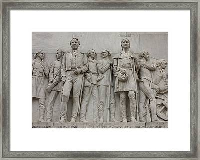 Travis And Crockett On Alamo Monument Framed Print