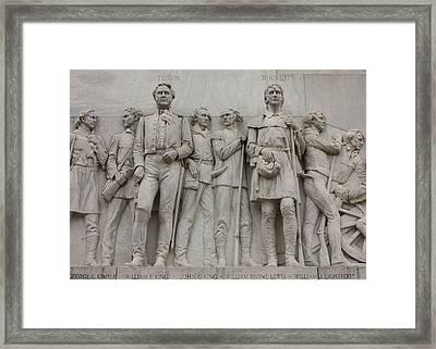 Travis And Crockett On Alamo Monument Framed Print by Carol Groenen