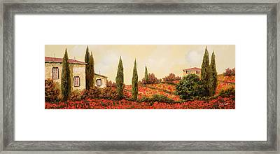 Tre Case Tra I Papaveri Framed Print by Guido Borelli