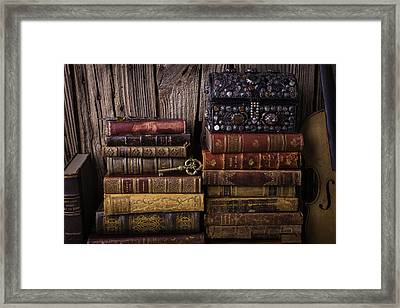 Treasure Box On Old Books Framed Print by Garry Gay