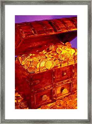 Treasure Chest With Gold Coins Framed Print