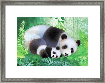 Treasure Garden Pandas Framed Print by Tracy Herrmann