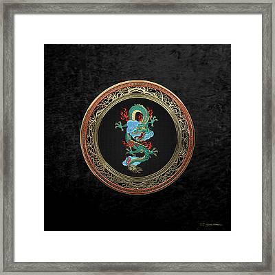 Treasure Trove - Turquoise Dragon Over Black Velvet Framed Print by Serge Averbukh