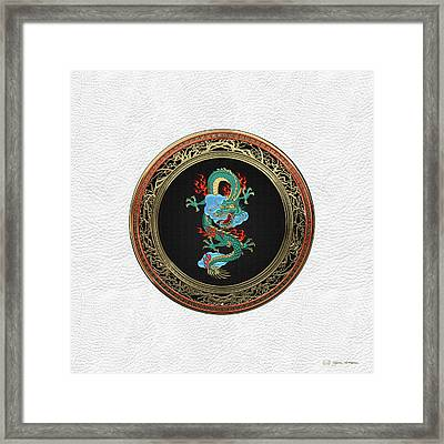 Treasure Trove - Turquoise Dragon Over White Leather Framed Print by Serge Averbukh