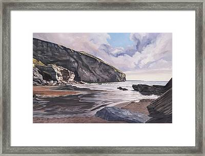 Framed Print featuring the painting Trebarwith Strand by Lawrence Dyer