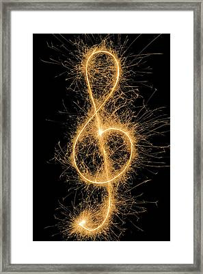 Treble Clef Drawn With A Sparkler Framed Print by Martin Diebel