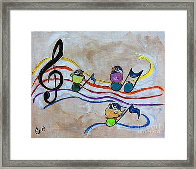 Treble Clef Trio Framed Print by Ella Kaye Dickey