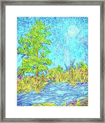 Framed Print featuring the digital art Tree Aglow In Moonlight - Mountain Scene In Boulder County Colorado by Joel Bruce Wallach