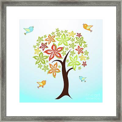 Tree And Birds Framed Print by Gaspar Avila