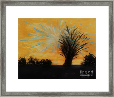 Tree And Lightning Framed Print by Marie Bulger