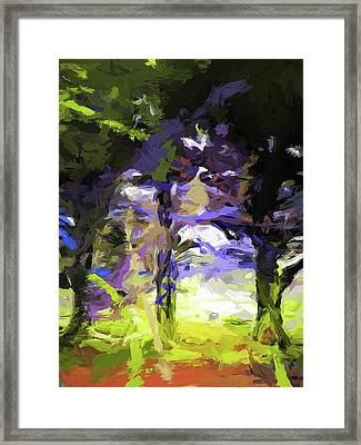 Tree Avenue Lavender Lilac Green Framed Print