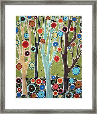 Tree Blooms And Birds Framed Print by Karla Gerard