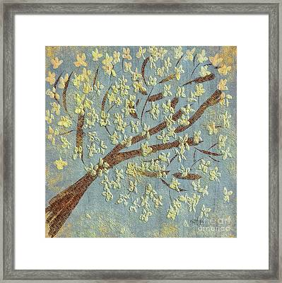 Framed Print featuring the digital art Tree Blossoms by Lois Bryan