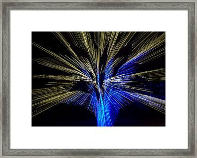 Tree Burst Of Blue And Yellow Framed Print