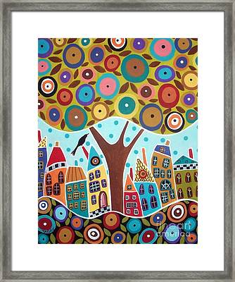 Tree Eight Houses And A Bird Framed Print