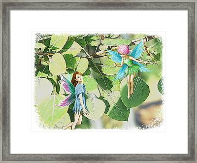 Tree Fairies Among The Quaking Aspen Leaves Framed Print