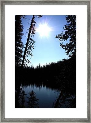 Tree-framed Lake Framed Print by Joseph Peterson