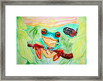 Tree Frog And Butterfly Framed Print by Nick Gustafson