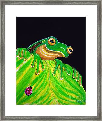 Tree Frog On A Leaf With Lady Bug Framed Print by Nick Gustafson
