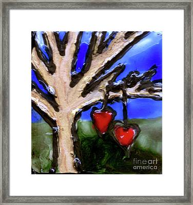 Framed Print featuring the painting Tree Hearts by Genevieve Esson
